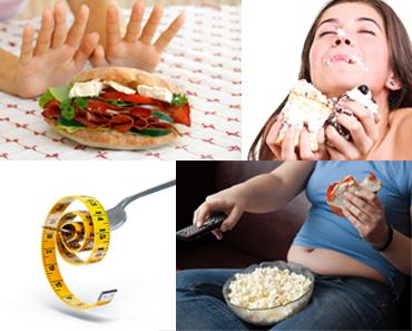 mujer-rechazando-torta-mujer-comiendo-dulces-tenedor-con-cinta-metrica-mujer-viendo-tv-y-comiendo